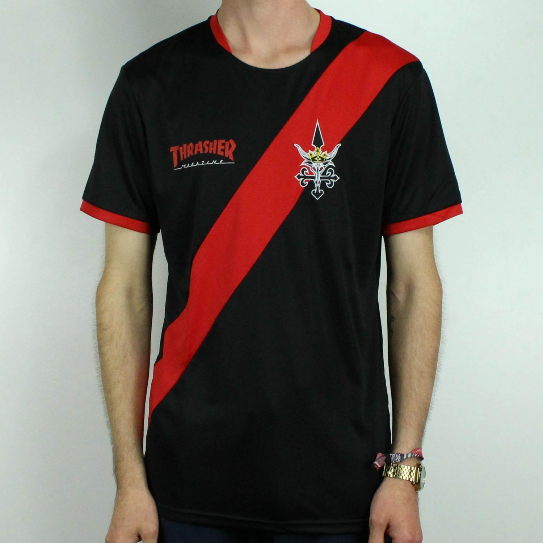 58f351f45bd Details about Thrasher Futbol Jersey T-Shirt Tee – Black Brand New in size  S,M,L,XL