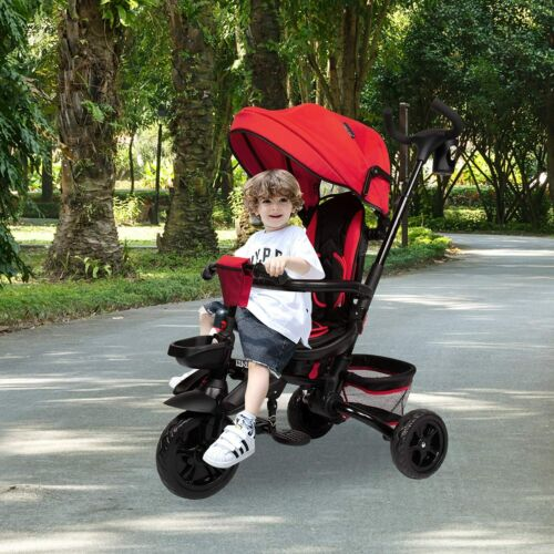 Kids 6 in1 Reversible Seat Convertible Tricycle Stroller Outdoor Ride On Trike