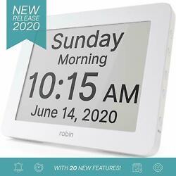 Robin Digital Day Clock Alarms Calendar Dementia Clock Helps Memory Loss -White