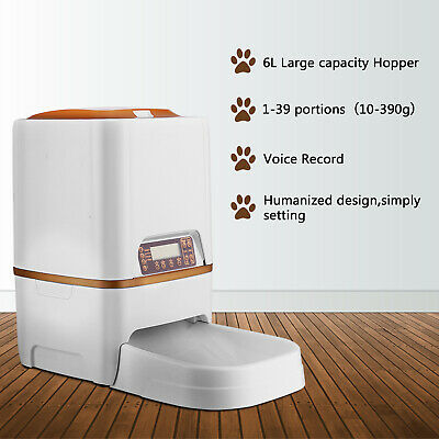 Automatic Pet Feeder Food Dispenser for Animal Cat Dog Timer Programmable 6L  ()