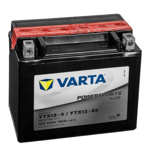 Varta Powersports Motorrad Batterie AGM 51012 YTX12-BS 510012009A514 12V 10Ah