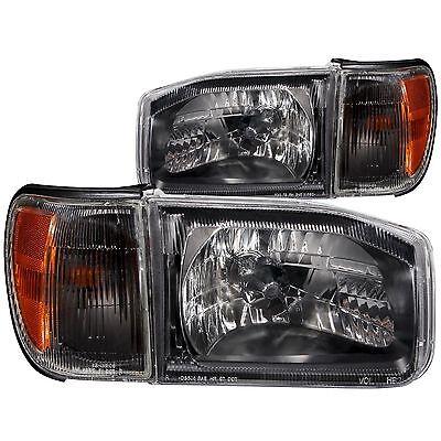 SAFARI GAZELLE 2005 BLACK HEADLIGHTS HEAD LIGHTS CORNER LAMPS RV MOTORHOME 4PC
