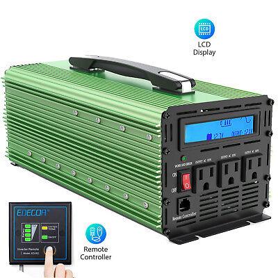 EDECOA 1500W 3000 Watt Inverter Pure Sine Wave 12V dc 110V 120V ac LCD Handle (W3000 Lcd)