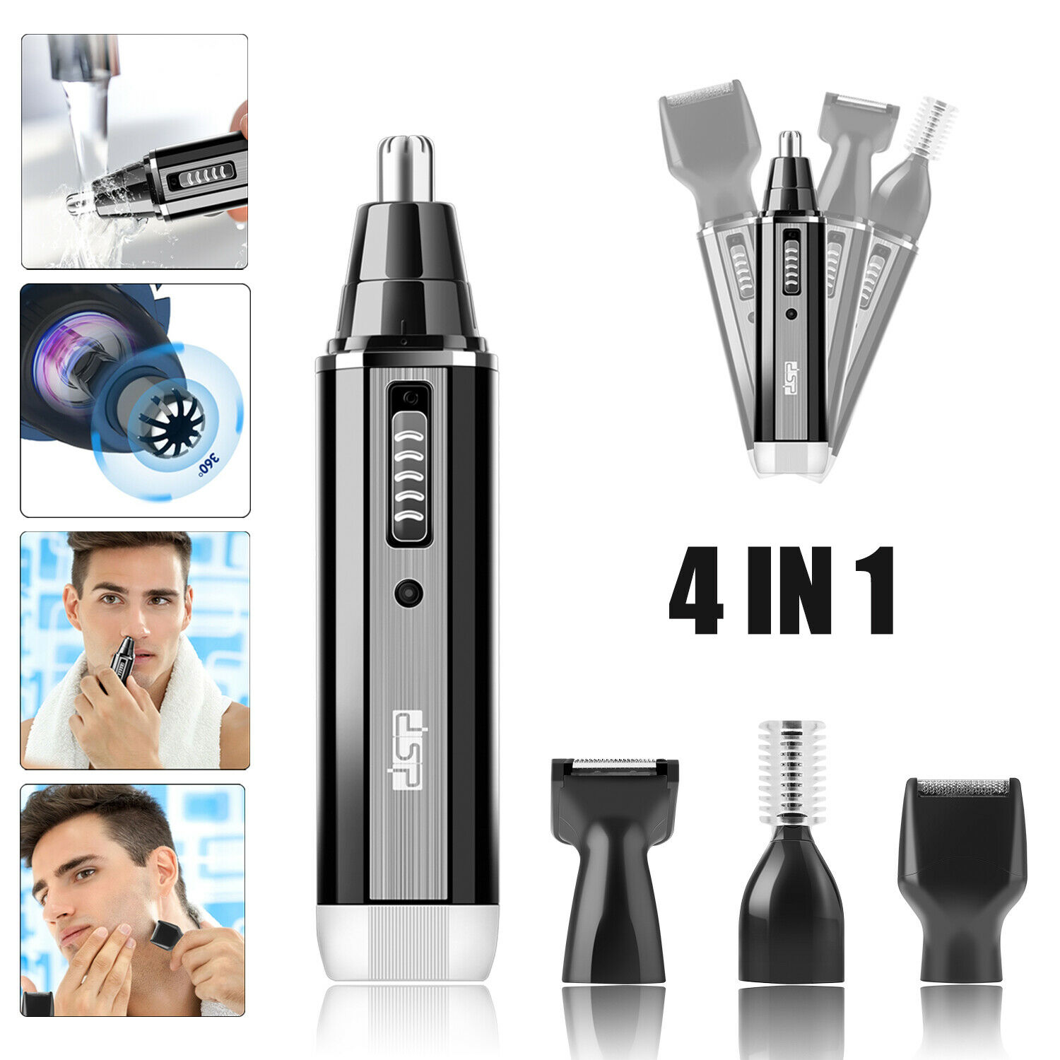 Rechargeable Men Ear Nose Hair Trimmer Beard Razor Electric