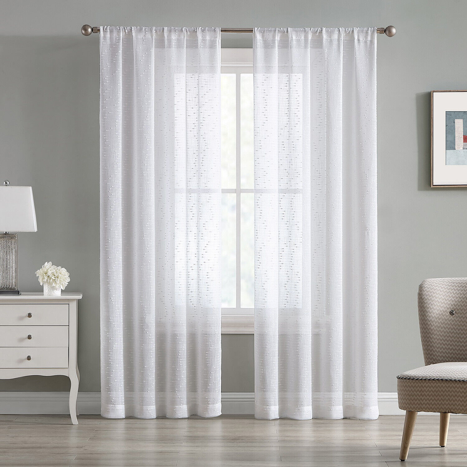 84″ Sheer White Textured 2-Piece Window Curtains Rod Pocket Drapes Panel Pair Curtains & Drapes