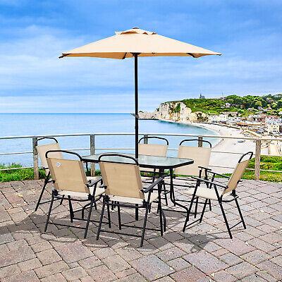 8pcs Garden Dining Set Outdoor Patio Furniture 6 Folding Chair 1 Table Backyard