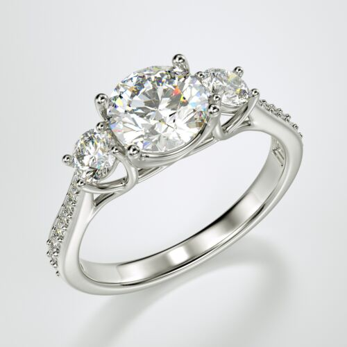 Solid 14K Solid White Gold Round Cut 3 Three Stone Engagement Promise Ring