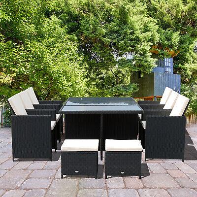 11pcs Garden Rattan Dining Set Wicker Furniture All Weather Patio