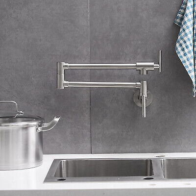 Brushed Nickel Wall Mounted Pot Filler Kitchen Faucet Double Joint Swing Arm11 - Nickel Wall Faucet