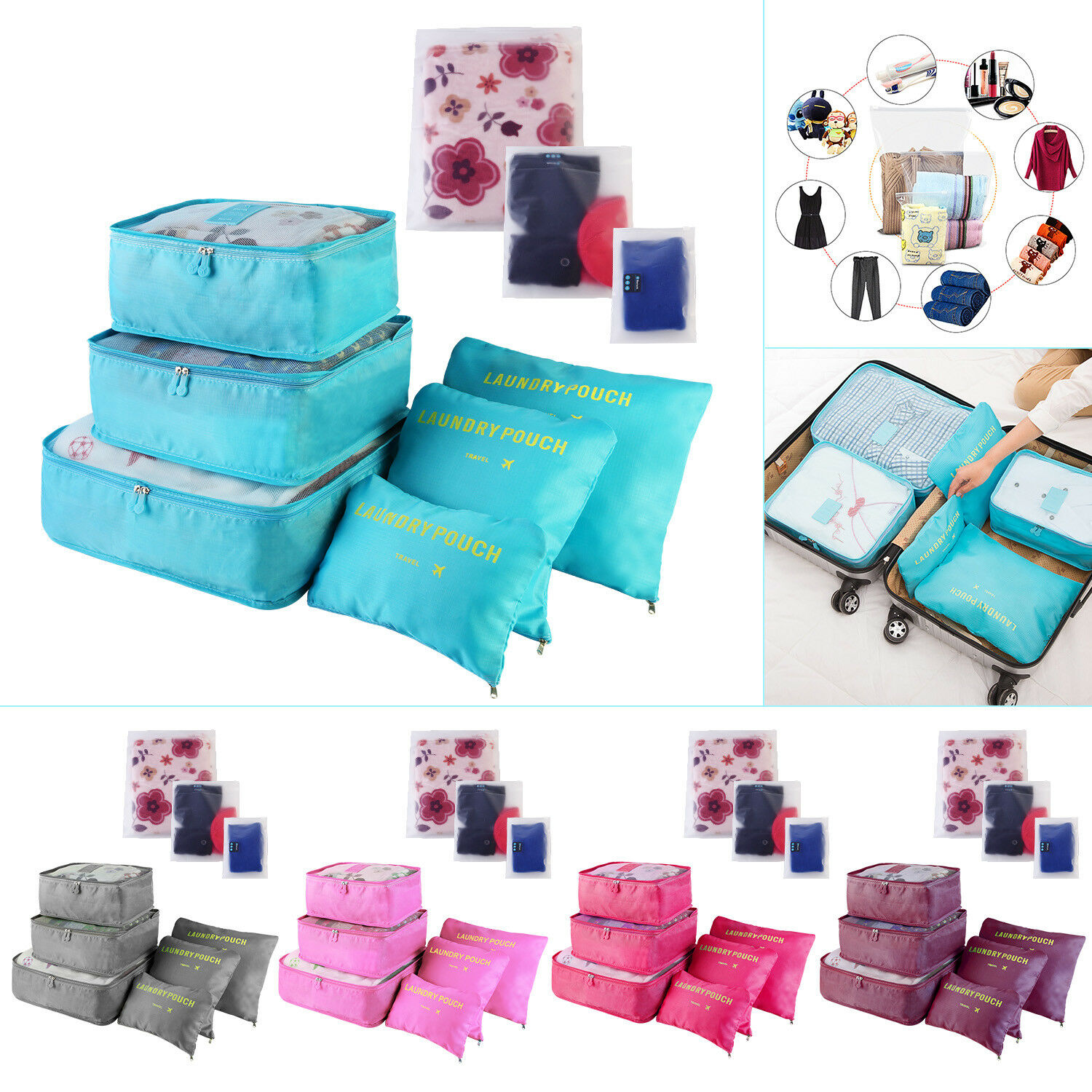 9pcs waterproof clothes storage bags packing cube