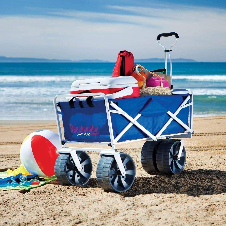 Mac Sports All-Terrain Blue Beach Wagon Cart Collapsible Com