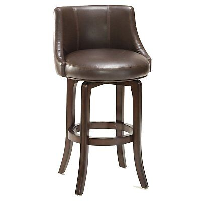 Hillsdale 4294-827I Napa Valley Swivel Counter Stool, Barstool Brown Leather New Cherry Unfinished Bar Stool