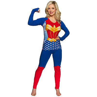 Wonder Woman Superhero Costume Shirt Pants Women's Sleep Set Blue - Blue Superhero Costume