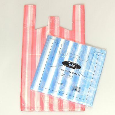 100 NEW LARGE Candy Stripe Plastic Vest Carrier 11x17x21