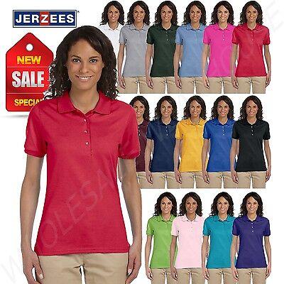 Jerzees Women's SpotShield Short Sleeve Solid Polo Shirt M-437W