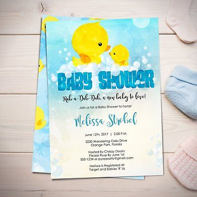 Rubber Ducky Baby Shower Invitations (Rubber Ducky Baby Shower Invitations - Duckie - Bath Time - BOY - Shower)