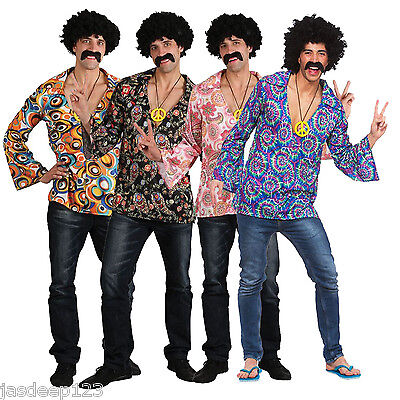 Mens 70s Outfit (Mens Hippie Shirts Fancy Dress Costume Outfit 60s 70s Hippy Groovy Disco)