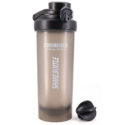 AUTO Lose one's cool Lid Shaker Bottle Blender for Protein Powder Smoothie Shaker-Full Blac