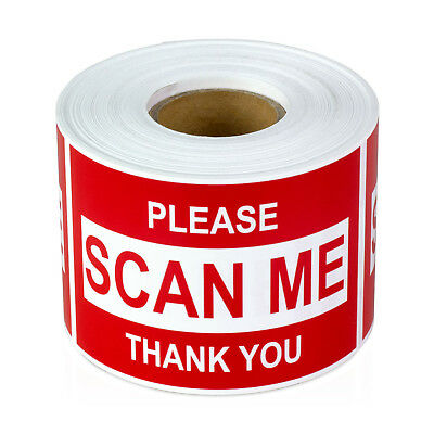 Please Scan Me Thank You Stickers Barcode Sign Care Labels 2 X 3 Red 1pk