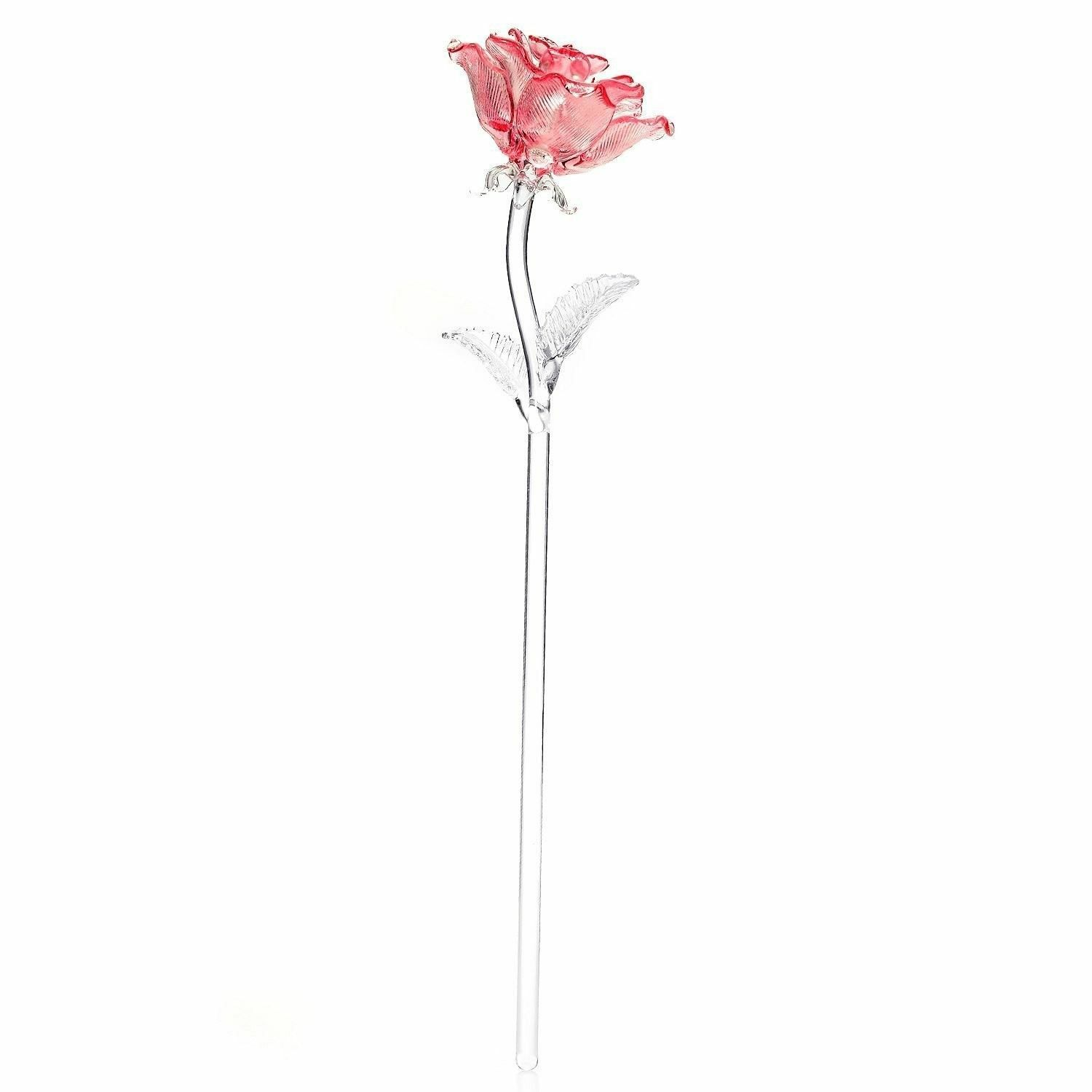 "Waterford Fleurology 14.5"" Colored Sculpted Glass Pink Rose"