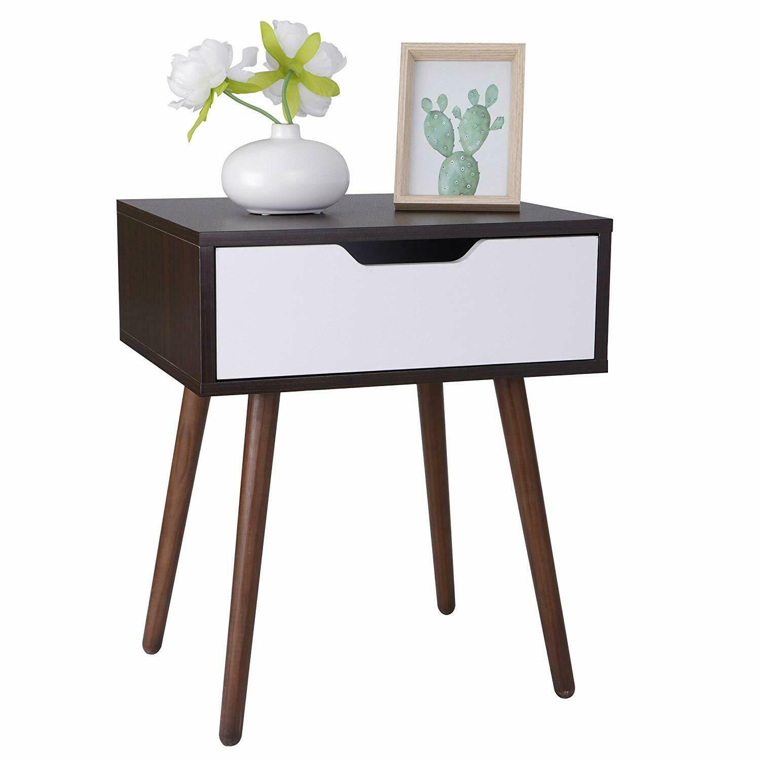 Wooden End Side Table for Small Spaces Nightstand Bedroom with Drawer