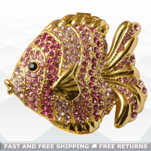 Fish Hinged Enameled Jewelry Trinket Box Jeweled Rhinestone Decorative Ornament