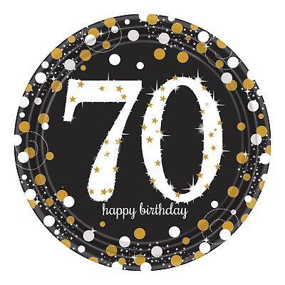 8pk Gold Glitzernd Feier 70. Geburtstag Papierteller 23cm Geschirr ()