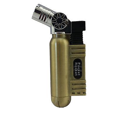 Pocket Rocket Single Jet Flame Butane Cigarette Cigar Torch Lighter - Gold