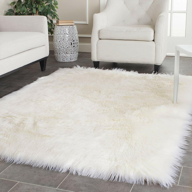 Shag Carpet Rectangle - Premium Faux Fur - White Sheepskin A