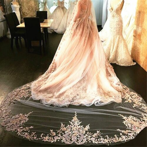 Champagne Ivory White Wedding Veils Lace Cathedral Comb Bridal Veil Accessories