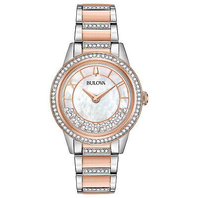 Bulova Women's Turnstyle Crystals Quartz Rose Gold Tone 32.5mm Watch 98L246