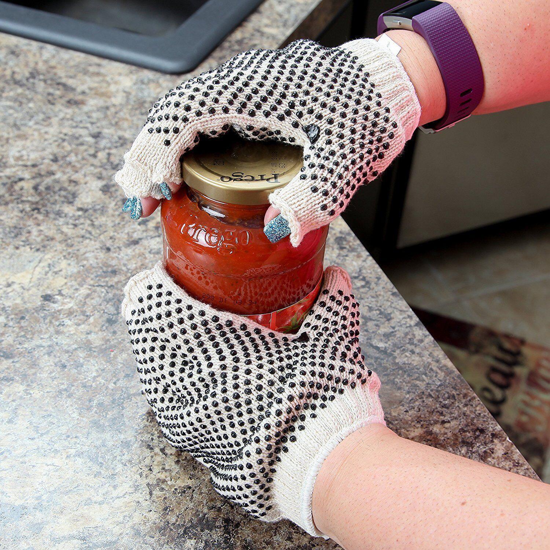 Jar Opener Gloves Fingerless Nonslip Gripper Hundreds of Rubberized Gripper Dots Home & Garden