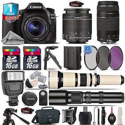 Canon EOS 80D DSLR Camera + 18-55mm IS + 75-300mm III + EXT BATT + 1yr Warranty