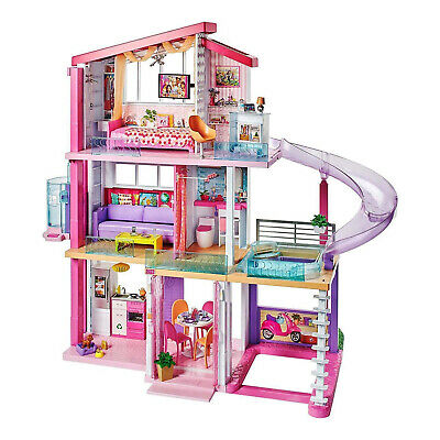 Barbie DreamHouse Portable Doll House with Furniture and Accessories, Pink(Used)
