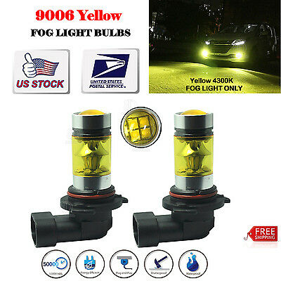 2X 9006 HB4 100W Samsung 2323 LED 4300K YELLOW  Fog Driving Light Bulbs