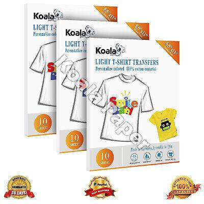 Koala 75 Sheets 8.5x11 Iron-on Heat Transfer Paper Cotton T-shirt Fabrics Inkjet