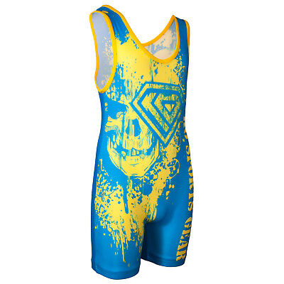 Wrestling Singlet by KO Sports Gear: SKULL – GOLD AND BLUE