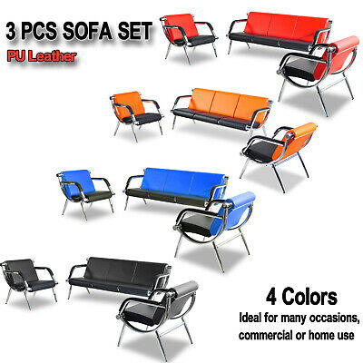 Office Reception Sofa Set Pu Leather 3 Pcs Waiting Room Chairs Solon Guest Bench