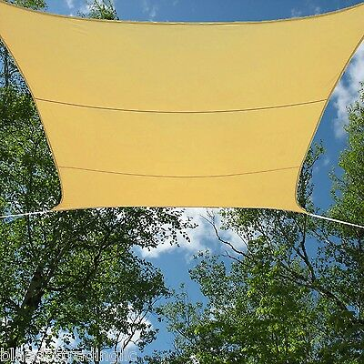 SAND BEIGE WATERPROOF SUN SHADE SAIL UV BLOCKING CANOPY COVER 13x13 FT SQUARE
