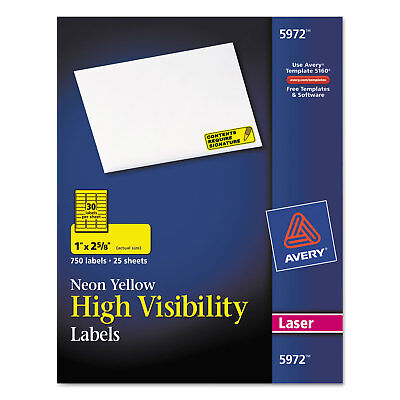 Avery High-Visibility Permanent ID Labels Laser 1 x 2 5/8 Neon Yellow 750/Pack