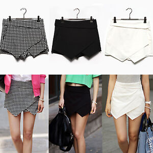Sexy-Womens-Wrap-Mini-Skort-Skirt-Short-Culottes-Irregular-Laminated-Flanging