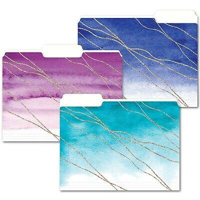Decorative File Folders Cute Watercolor And Gold Design 9 Count File Folders
