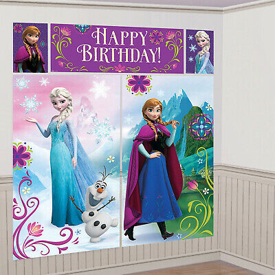 5 Disney Frozen Scene Setters Wall Decorations Birthday Party Banner Bunting ()