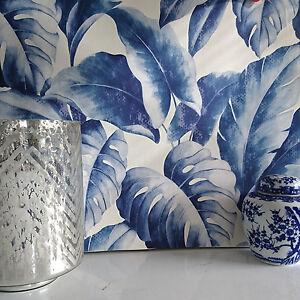 Pl tano hoja fino con textura grande palmera papel pintado for Papel pintado azul y plata