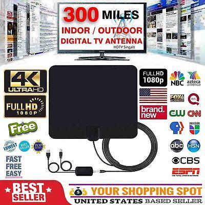 Flat Satellite Dish - Flat HD Digital Indoor Amplified TV Antenna with Amplifier 300 Miles Range 13ft