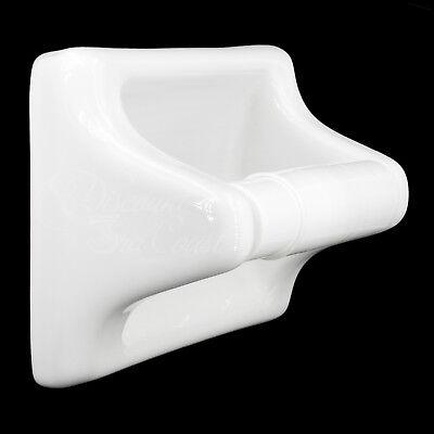 Toilet Paper Tissue Holder White Porcelain Wroller Tile-in Or Wall Mount New