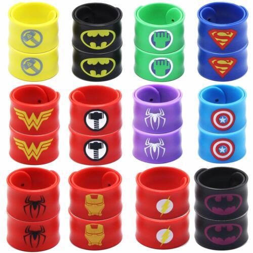 Superhero Slap Bracelet Birthday Party Supplies School Classroom Rewards 24pcs