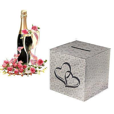 White Silver Hearts Wedding Paper Money Box Reception Wishing Wells 10