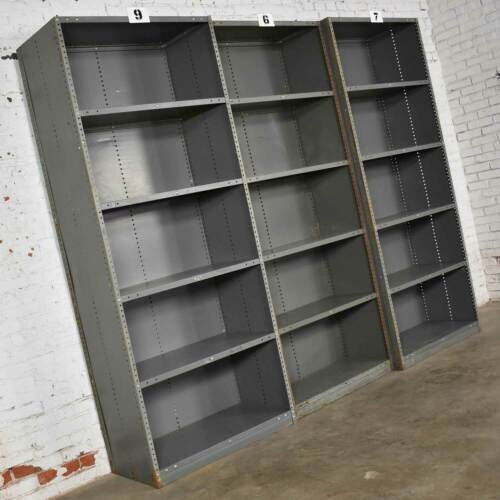 Trio of Industrial Steel Bookcase Shelving Painted Gray – Green Great Patina Vin
