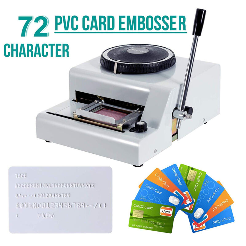 72 Character Letter Manual Embosser Stamping Machine PVC Credit Card Maker New